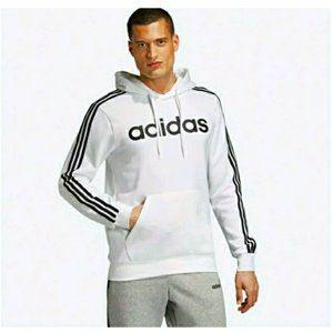 Adidas White Essentials 3-Stripes Pullover Hoodie
